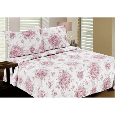 Melange Home Toile Cotton 2/3pcs Quilt Set