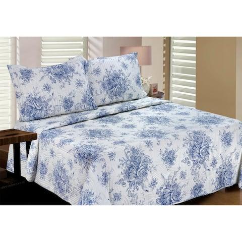 Melange Home Toile Cotton 2/3pcs Quilt Set