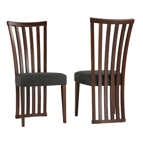 Cortesi Home Ingrid Dining Chair in Charcoal Fabric, Walnut Finish (Set of 2)