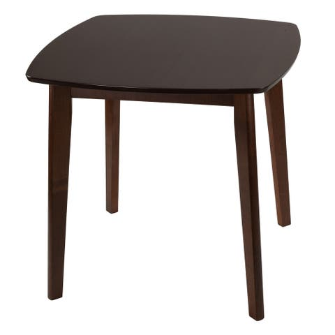 Cortesi Home Kari Small Dining Table, Walnut Finish - 31 x 31