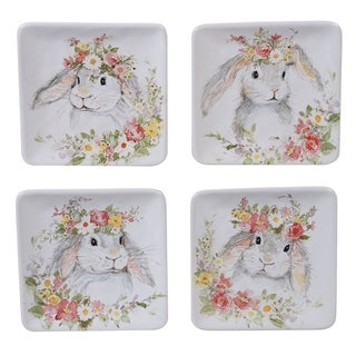 Certified International Sweet Bunny Canape/Snack Plates, Set of 4