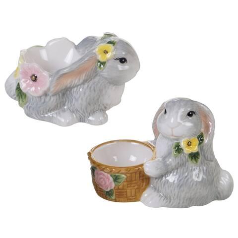 Certified International Sweet Bunny 3-D Egg Cups, Set of 6