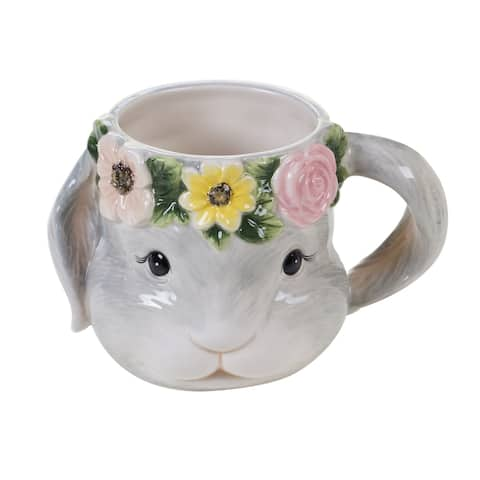 Certified International Sweet Bunny 18 oz. 3-D Mugs, Set of 4