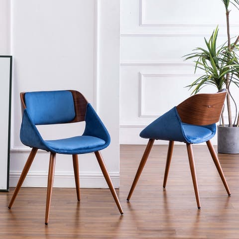 Carson Carrington Ykullen Blue Microsuede & Wood Dining Sloped Arm Chair (Set 2)
