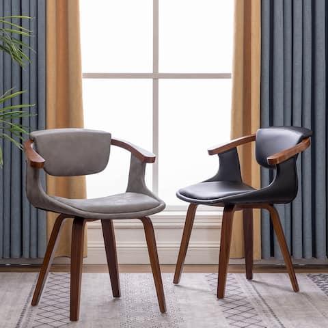 Carson Carrington Ydermossa PU Leather & Wood Upholstered Dining Armchair (Set 2)