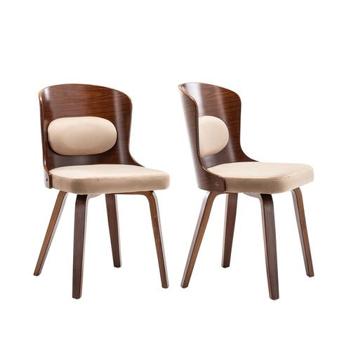 Lagol Curved Back Wood Dining Side Chair Micorsuede Padding (Set 2)
