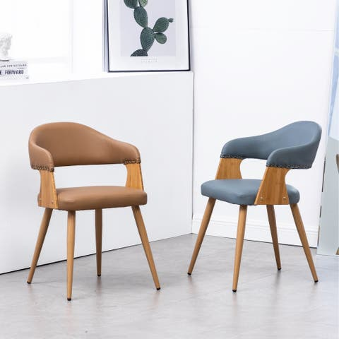 Tadala PU Leather & Wood Dining Arm Chair Open Back (Set 2)