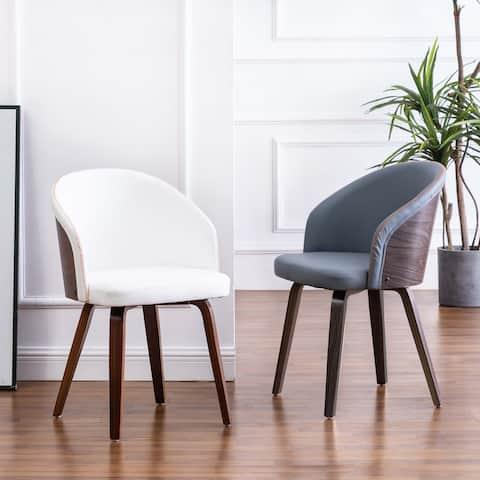 Maynau PU Leather & Wood Upholstered Dining Arm Chairs (Set 2)