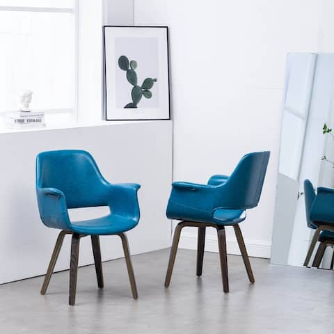Timbey Blue PU Leather & Wood Uphostered Dining Arm Chair (Set 2)