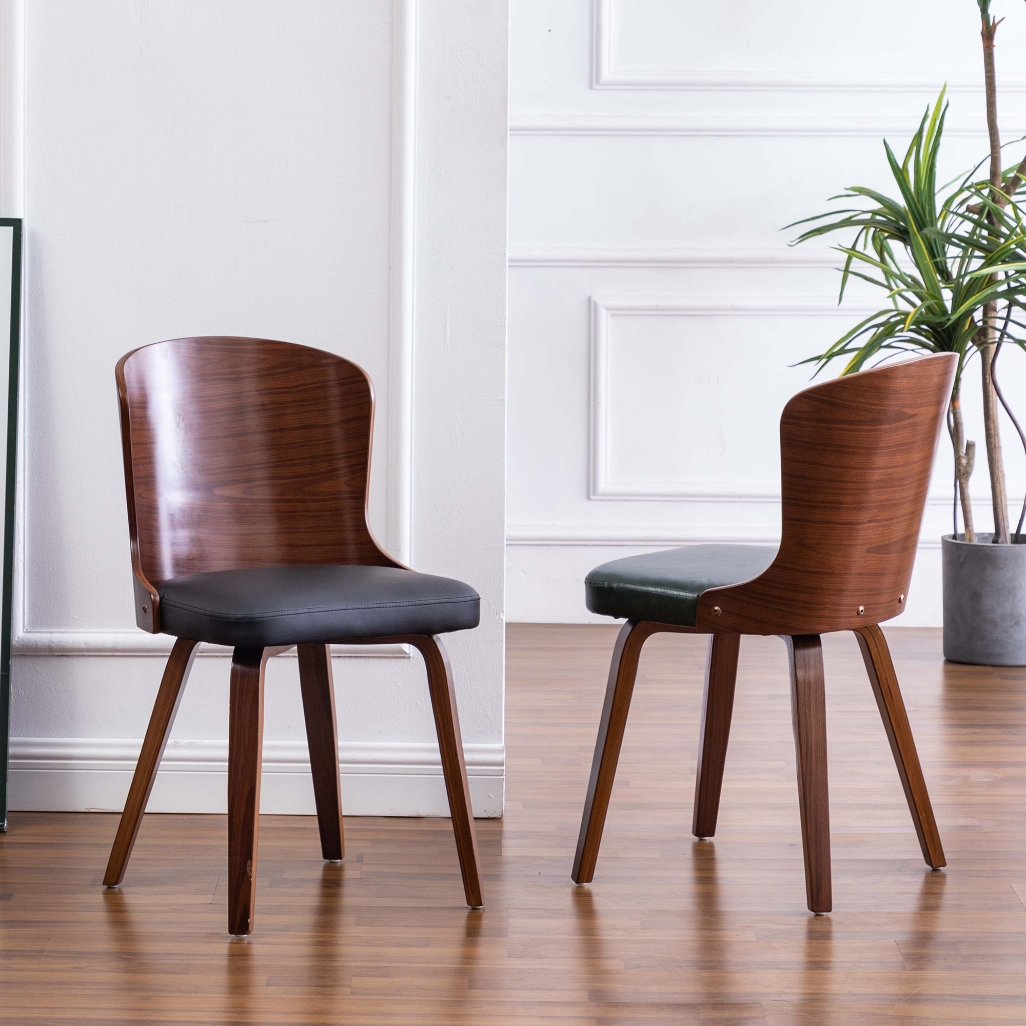 Punpa Curved Wood Dining Side Chair Pu Leather Padded Seats Set 2 On Sale Overstock 30560520
