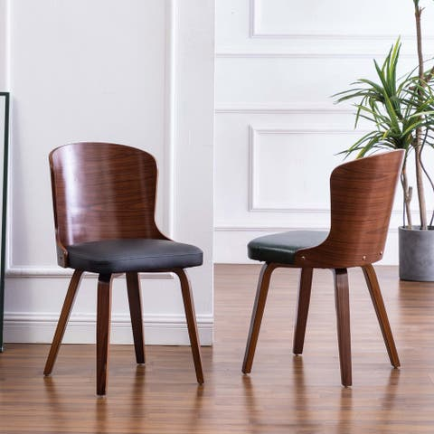 Punpa Curved Wood Dining Side Chair PU Leather Padded Seats (Set 2)