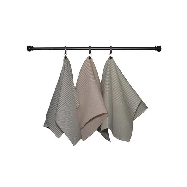 Dunroven House Mini Stripe Cotton/Linen Towel Set of 3