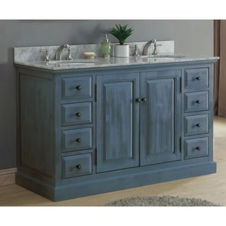 """60""""Solid Recycled Fir Double Sink Vanity with Metal Glides in Blue Gray Finish with Marble Top-No Faucet"""