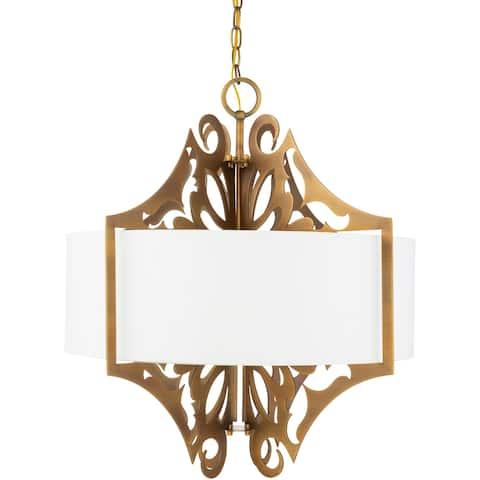 Roxton Modern Damask Metal 3-Light Pendant