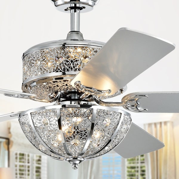 Silver Orchid Wilson Chrome 52-Inch 5-Blade Lighted Ceiling Fan w/ Metal Bowl Shade (Includes Remote)