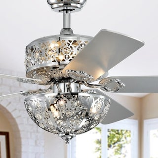 Silver Orchid Farrar Chrome 52-Inch 5-Blade Lighted Ceiling Fan with Metal Bowl Shade (Includes Remote)