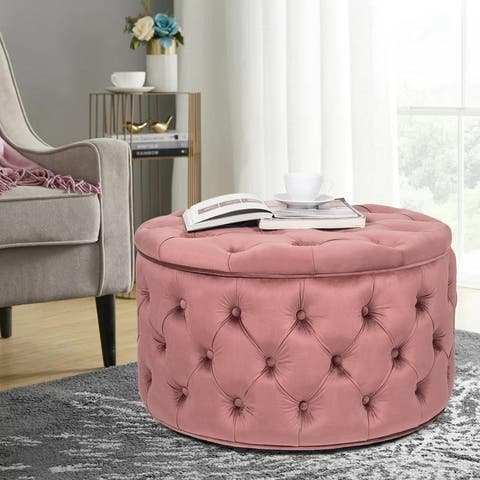 Adeco 3D Button Tufted Round Cocktail Ottoman