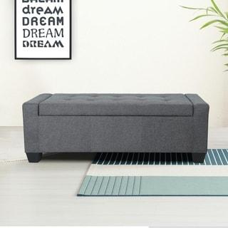 Copper Grove Osaltos Button-tufted Fabric Storage Ottoman Bench