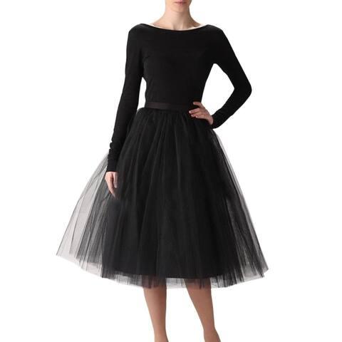 Women's Mesh A Line Knee Length Midi Tutu Tulle Skirts