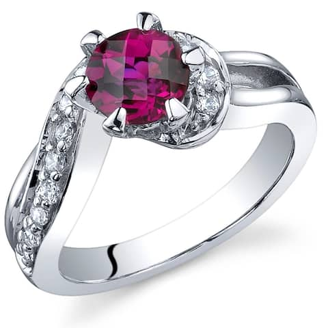 1 ct Round Created Ruby and Cubic Zirconia Ring in Sterling Silver