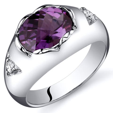2.5 ct Oval Shape Created Alexandrite Ring in Sterling Silver
