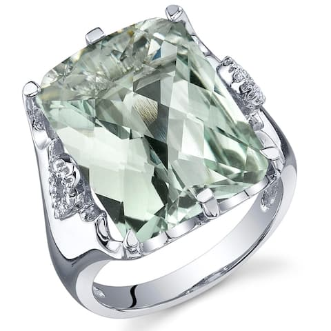 11 ct Radiant Cut Green Amethyst and Cubic Zirconia Ring in Sterling Silver