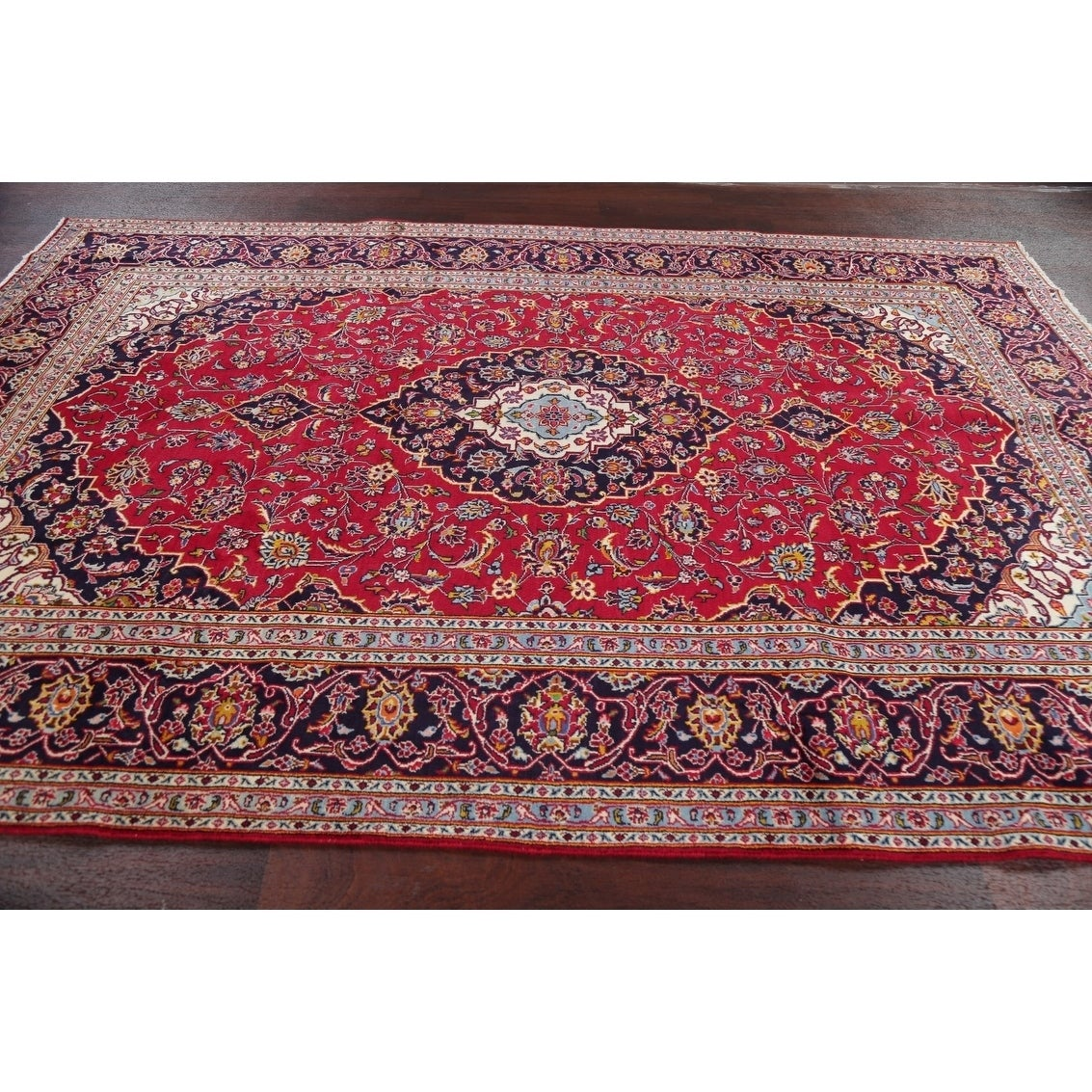 Red Floral Kashan Persian Area Rug Handmade Traditional Carpet 6 9 X 9 11 On Sale Overstock 30563254