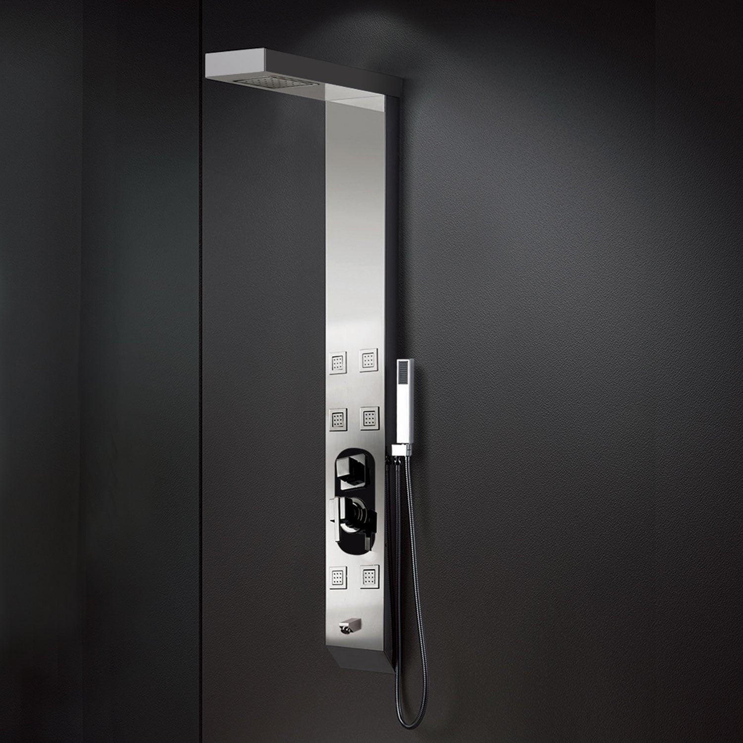 Empava 59 In 6 Body Sprays Shower Panel System With Rainfall Waterfall Shower Head And Shower Wand In Stainless Steel