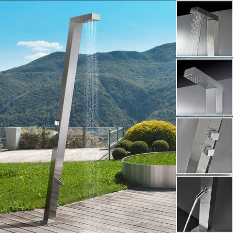 Empava 83 in Stainless Steel Freestanding Outdoor Pool Rainfall Shower