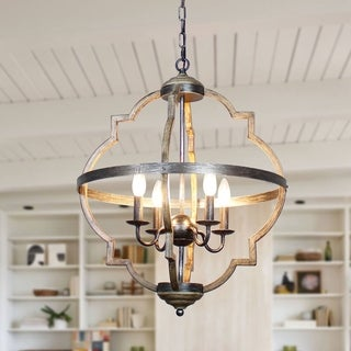 Link to Antique Distressed Wood 4-Light Candle Style Hall Foyer Chandelier Similar Items in Chandeliers