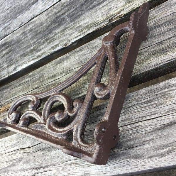 2pcs Cast Iron Antique Style Brackets Garden Braces Rustic Shelf