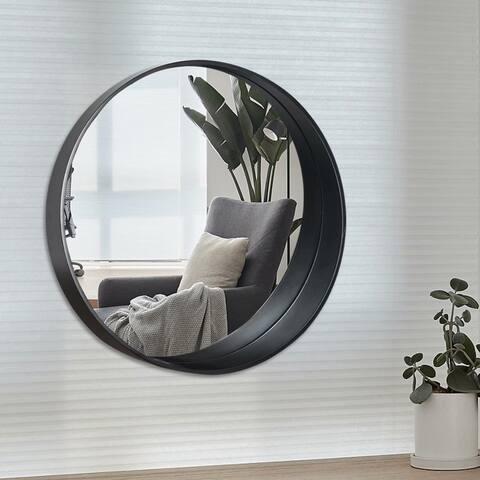 Carbon Loft Bent Wood Round Hanging Bathroom Vanity Mirror - 23.62''x23.62''