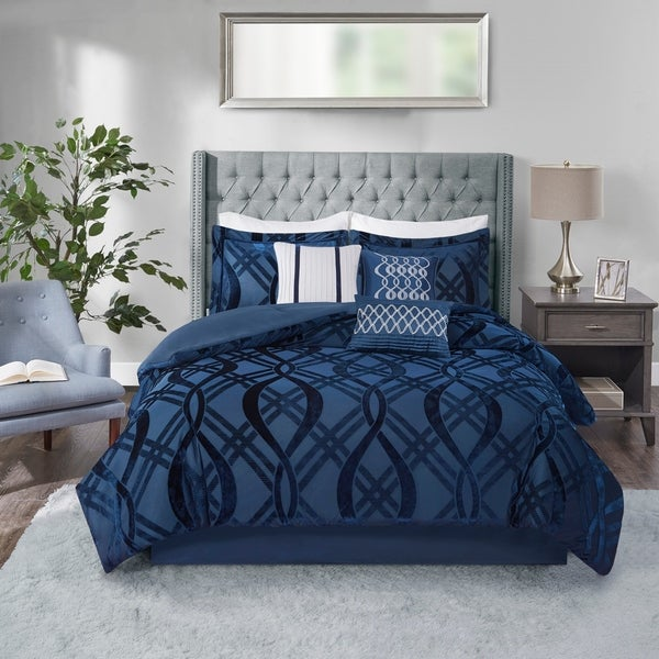 Madison Park Elise Navy 7 Piece Velvet Comforter Set. Opens flyout.