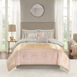 Link to Madison Park Midnight Grove Blush 7 Piece Metallic Print Comforter Set Similar Items in Comforter Sets