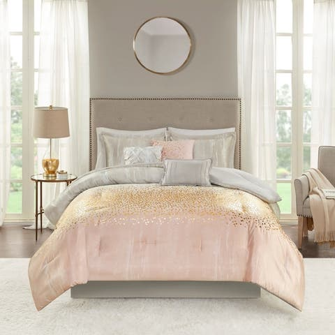 Madison Park Midnight Grove Blush 7 Piece Metallic Print Comforter Set