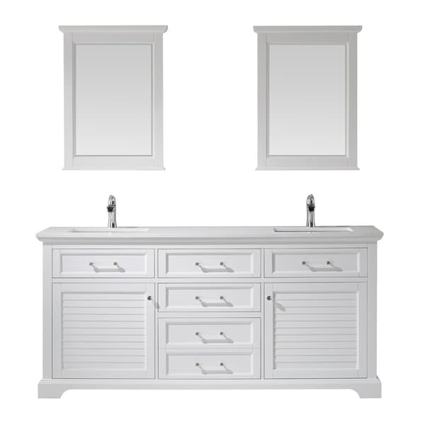 "Lorna 72"" Double Vanity in Finnish Green with Artificial Fine white stone countertop With Mirror"