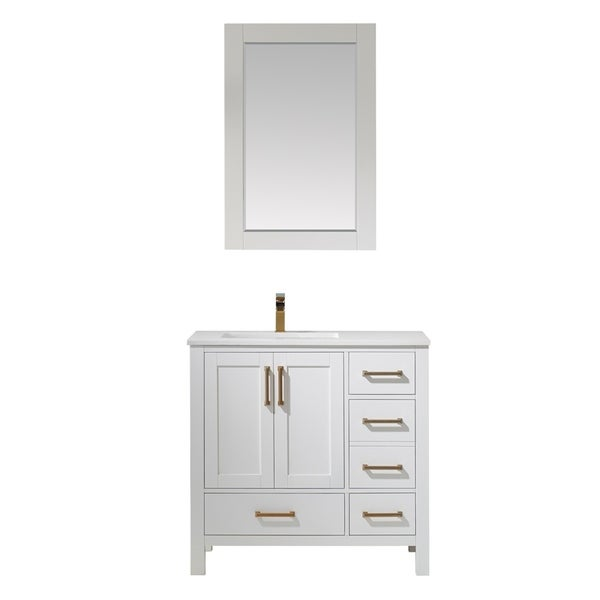 """Shannon 36"""" Single Vanity in White with Artificial Fine white stone countertop With Mirror"""