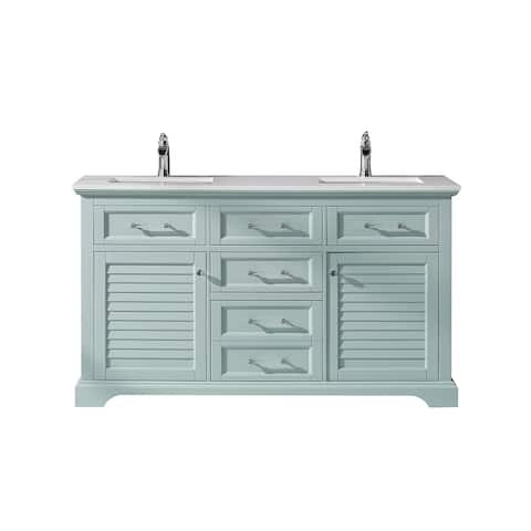 """Lorna 60"""" Double Vanity in Finnish Green with Artificial Fine white stone countertop Without Mirror"""
