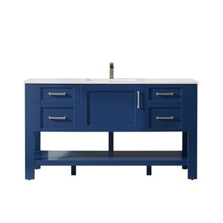 "Grayson 60"" Double Vanity in Jewelry Blue with Artificial Fine white stone countertop Without Mirror"
