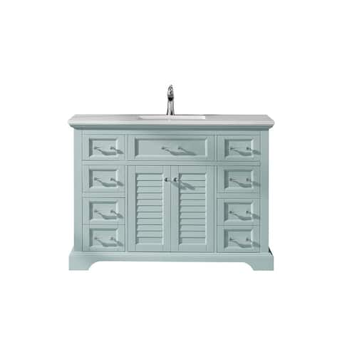 """Lorna 48"""" Single Vanity in Finnish Green with Artificial Fine white stone countertop Without Mirror"""