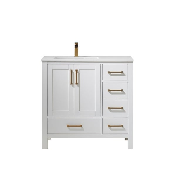 """Shannon 36"""" Single Vanity in White with Artificial Fine white stone countertop Without Mirror"""