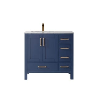 "Shannon 36"" Single Vanity in Royal Blue  with Artificial Fine white stone countertop Without Mirror"