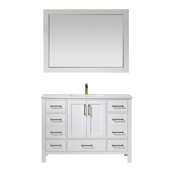 """Shannon 48"""" Single Vanity in White with Artificial Fine white stone countertop With Mirror"""