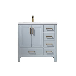"Shannon 36"" Single Vanity in Paris Grey with Artificial Fine white stone countertop Without Mirror"
