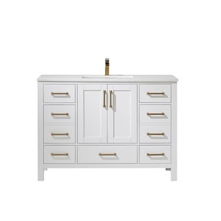 """Shannon 48"""" Single Vanity in White with Artificial Fine white stone countertop Without Mirror"""