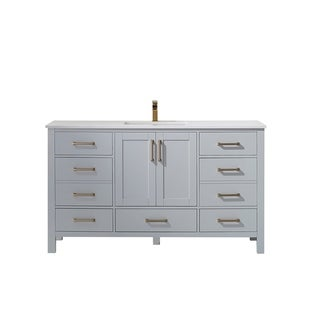 """Shannon 60"""" Single Vanity in Paris Grey with Artificial Fine white stone countertop Without Mirror"""