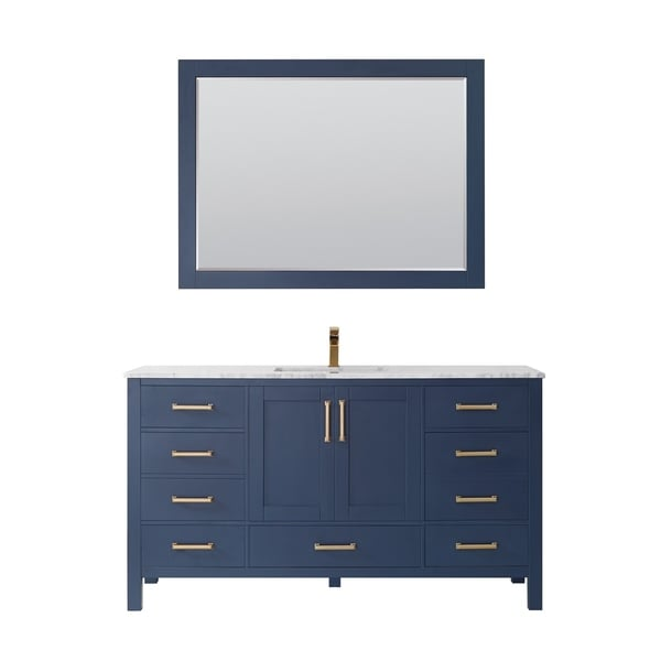 """Shannon 60"""" Single Vanity in Royal Blue with Artificial Fine white stone countertop With Mirror"""