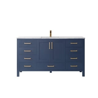"""Shannon 60"""" Single Vanity in Royal Blue with Artificial Fine white stone countertop Without Mirror"""