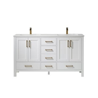 """Shannon 60"""" Double Vanity in White with Artificial Fine white stone countertop Without Mirror"""