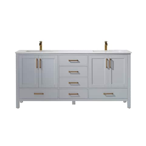 "Shannon 72"" Double Vanity in Paris Grey with Artificial Fine white stone countertop Without Mirror"